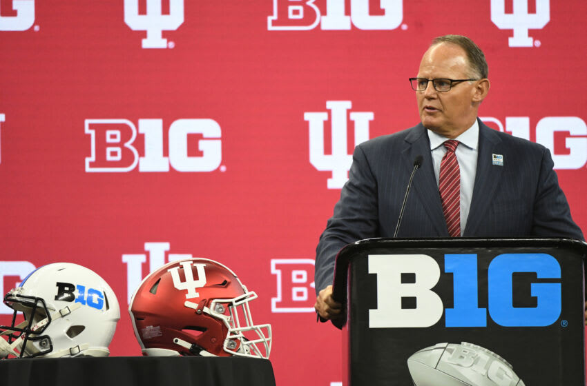 Jul 23, 2021; Indianapolis, Indiana, USA; Indiana Hoosiers head coach Tom Allen speaks to the media during Big 10 media days at Lucas Oil Stadium. Mandatory Credit: Robert Goddin-USA TODAY Sports