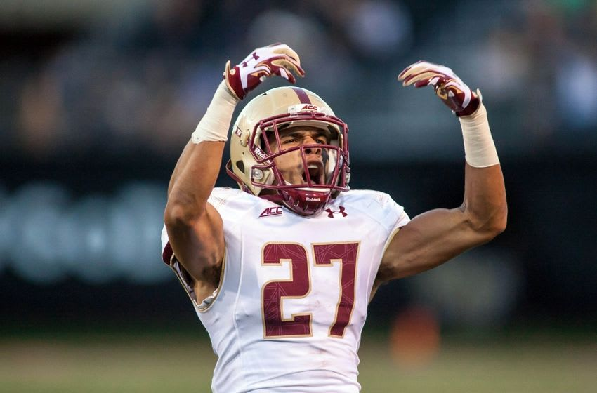 Oct 25, 2014; Winston-Salem, NC, USA; Boston College Eagles defensive back Justin Simmons (27) reacts after intercepting a pass late in the fourth quarter against the Wake Forest Demon Deacons at BB&T Field. Boston College defeated Wake Forest 23-17. Mandatory Credit: Jeremy Brevard-USA TODAY Sports