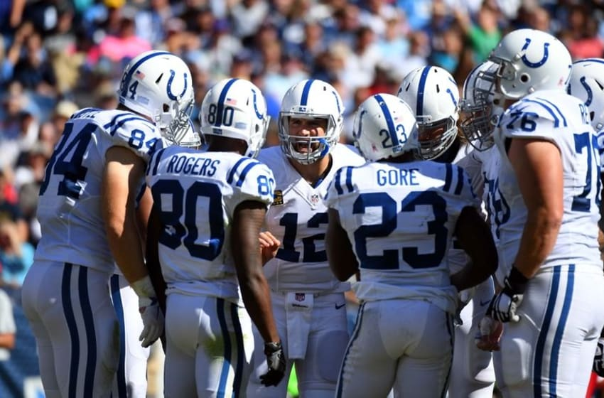 Oct 23, 2016; Nashville, TN, USA; Indianapolis Colts quarterback Andrew Luck (12) talks in the huddle during the first half against the Tennessee Titans at Nissan Stadium. The Colts won 34-26. Mandatory Credit: Christopher Hanewinckel-USA TODAY Sports