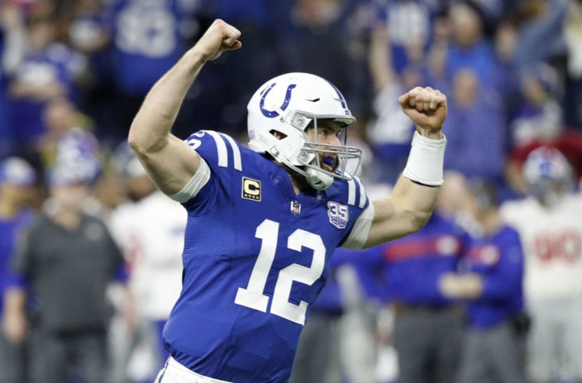 INDIANAPOLIS, INDIANA - DECEMBER 23: Andrew Luck #12 of the Indianapolis Colts celebrates after a touchdown in the game against the New York Giants in the third quarter at Lucas Oil Stadium on December 23, 2018 in Indianapolis, Indiana. (Photo by Joe Robbins/Getty Images)