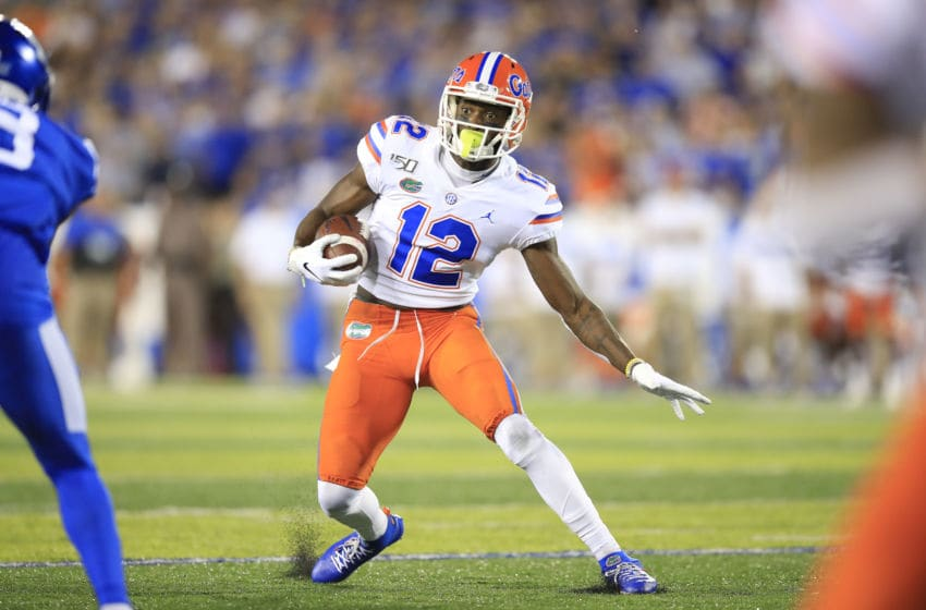 LEXINGTON, KENTUCKY - SEPTEMBER 14: Van Jefferson #12 of the Florida Gators runs with the ball against the Kentucky Wildcats at Commonwealth Stadium on September 14, 2019 in Lexington, Kentucky. (Photo by Andy Lyons/Getty Images)