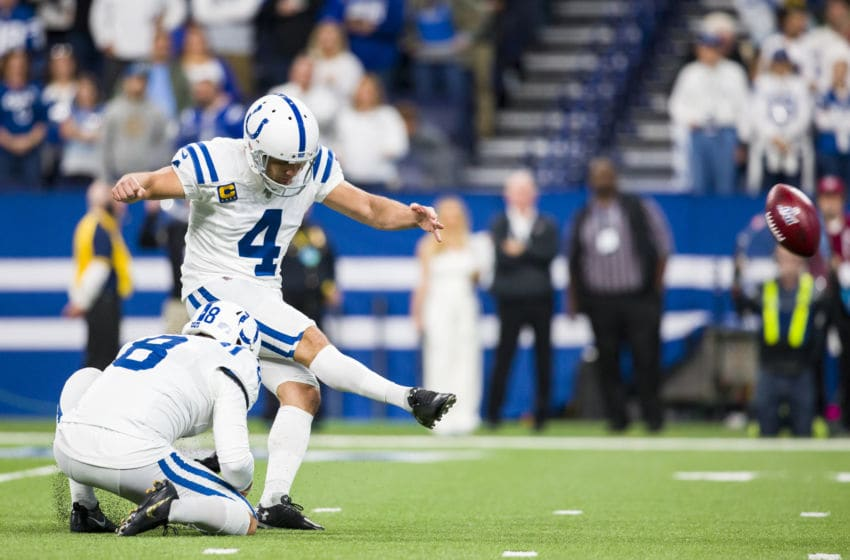 INDIANAPOLIS, IN - DECEMBER 01: Adam Vinatieri #4 of the Indianapolis Colts kicks a successful point after try during the first quarter against the Tennessee Titans at Lucas Oil Stadium on December 1, 2019 in Indianapolis, Indiana. (Photo by Brett Carlsen/Getty Images)