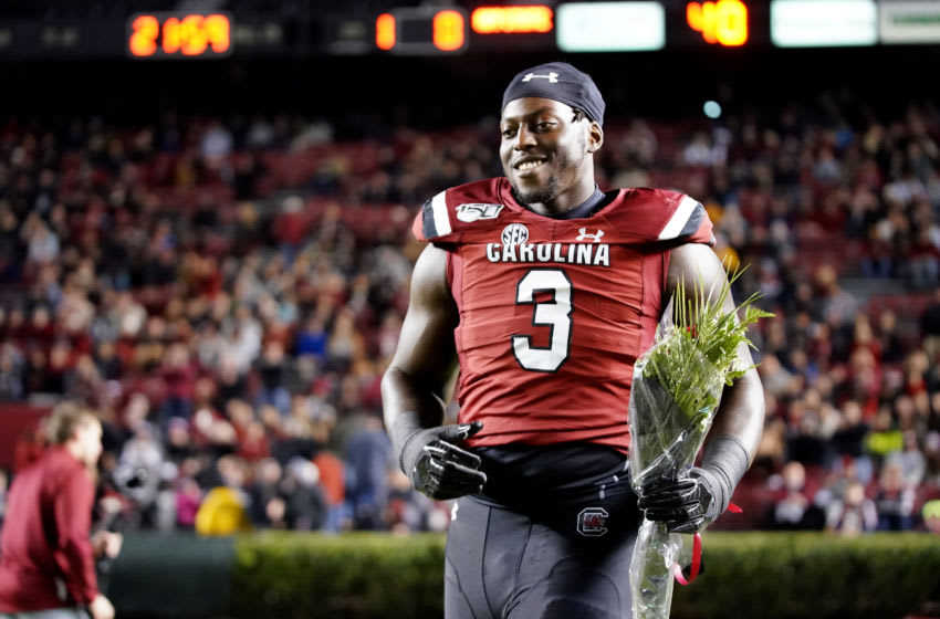 COLUMBIA, SOUTH CAROLINA - NOVEMBER 09: Javon Kinlaw #3 of the South Carolina Gamecocks before their game against the Appalachian State Mountaineers at Williams-Brice Stadium on November 09, 2019 in Columbia, South Carolina. (Photo by Jacob Kupferman/Getty Images)