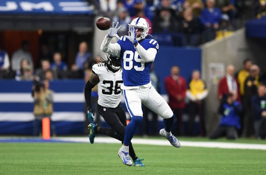 INDIANAPOLIS, INDIANA - NOVEMBER 17: Eric Ebron #85 of the Indianapolis Colts catches a pass in front of Ronnie Harrison #36 of the Jacksonville Jaguars during the first half at Lucas Oil Stadium on November 17, 2019 in Indianapolis, Indiana. (Photo by Stacy Revere/Getty Images)