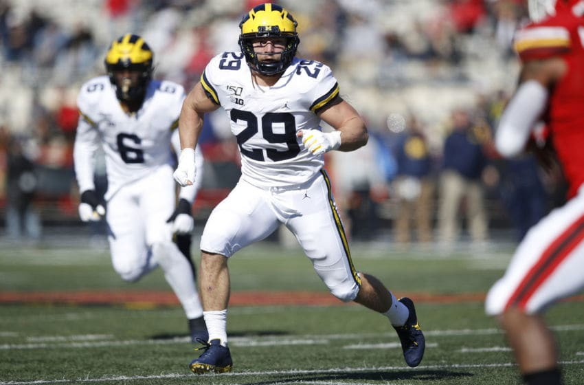 COLLEGE PARK, MD - NOVEMBER 02: Jordan Glasgow #29 of the Michigan Wolverines in action on defense during a game against the Maryland Terrapins at Capital One Field at Maryland Stadium on November 2, 2019 in College Park, Maryland. Michigan defeated Maryland 38-7. (Photo by Joe Robbins/Getty Images)