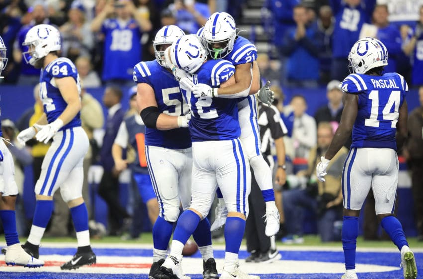 INDIANAPOLIS, INDIANA - NOVEMBER 17: Braden Smith #72 and Nyheim Hines #21 of the Indianapolis Colts celebrate after Hines ran for a touchdown during the game against the Jacksonville Jaguars at Lucas Oil Stadium on November 17, 2019 in Indianapolis, Indiana. (Photo by Andy Lyons/Getty Images)