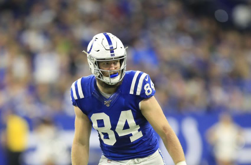 INDIANAPOLIS, INDIANA - NOVEMBER 17: Jack Doyle #84 of the Indianapolis Colts during the game against the Jacksonville Jaguars at Lucas Oil Stadium on November 17, 2019 in Indianapolis, Indiana. (Photo by Andy Lyons/Getty Images)