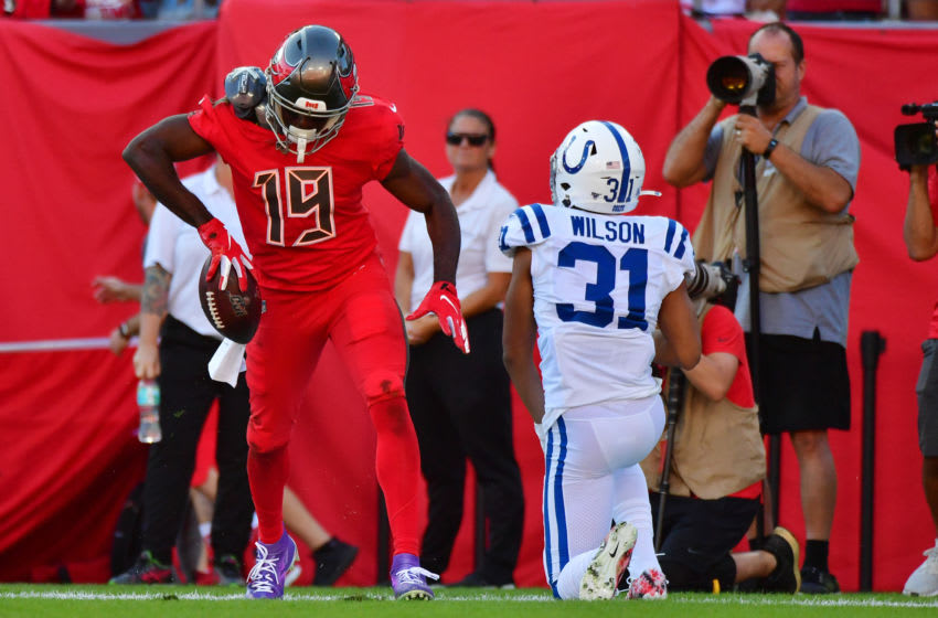 TAMPA, FLORIDA - DECEMBER 08: Breshad Perriman #19 of the Tampa Bay Buccaneers celebrates after catching a 12-yard touchdown pass in the fourth quarter of a football game against the Indianapolis Colts at Raymond James Stadium on December 08, 2019 in Tampa, Florida. (Photo by Julio Aguilar/Getty Images)