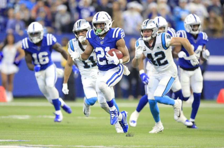 INDIANAPOLIS, INDIANA - DECEMBER 22: Nyheim Hines #21 of the Indianapolis Colts returns a punt against the Carolina Panthers at Lucas Oil Stadium on December 22, 2019 in Indianapolis, Indiana. (Photo by Andy Lyons/Getty Images)