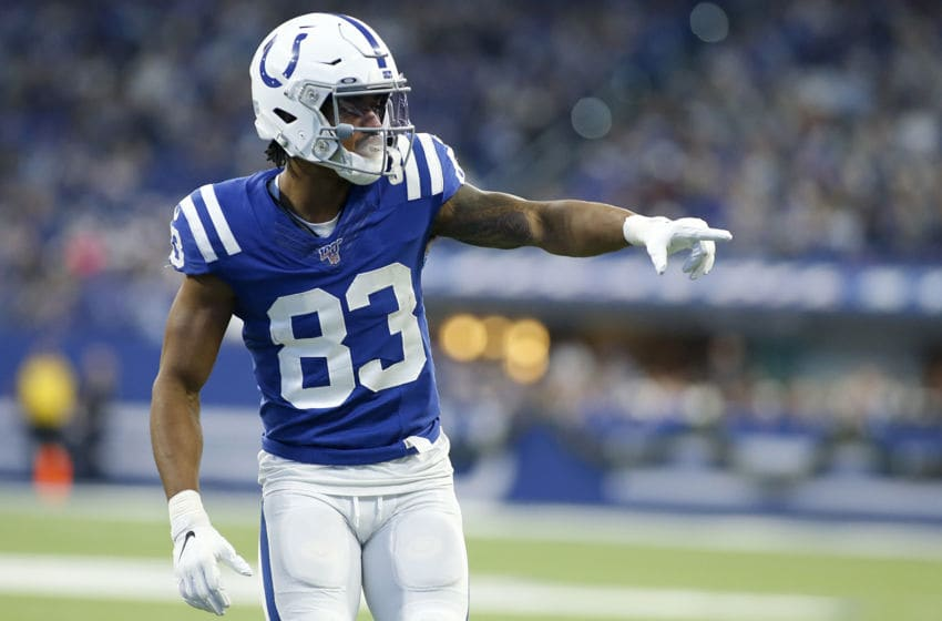 INDIANAPOLIS, INDIANA - DECEMBER 22: Marcus Johnson #83 of the Indianapolis Colts in action in the game against the Carolina Panthers at Lucas Oil Stadium on December 22, 2019 in Indianapolis, Indiana. (Photo by Justin Casterline/Getty Images)