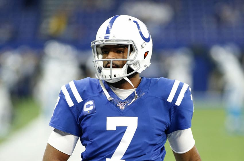 INDIANAPOLIS, INDIANA - DECEMBER 22: Jacoby Brissett #7 of the Indianapolis Colts warms up before the game against the Carolina Panthers at Lucas Oil Stadium on December 22, 2019 in Indianapolis, Indiana. (Photo by Justin Casterline/Getty Images)