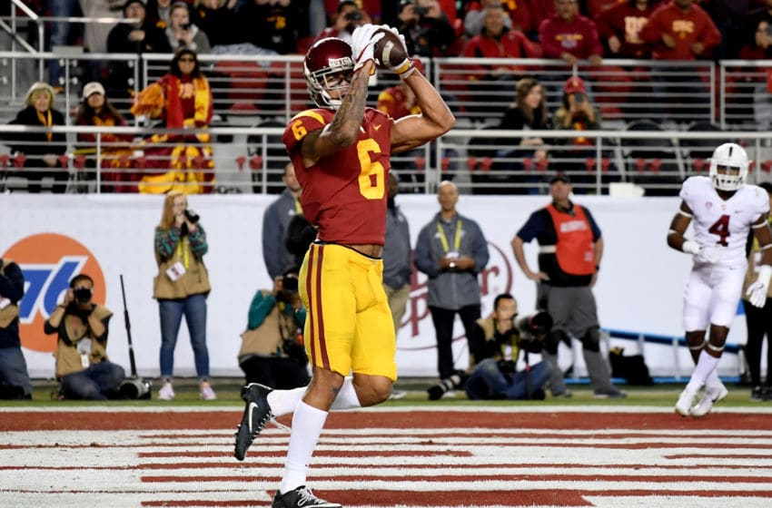 SANTA CLARA, CA - DECEMBER 01: Michael Pittman Jr. #6 of the USC Trojans catches a touchdown pass against the Stanford Cardinal during the Pac-12 Football Championship Game at Levi's Stadium on December 1, 2017 in Santa Clara, California. (Photo by Thearon W. Henderson/Getty Images)