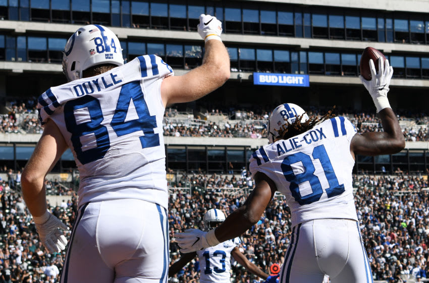 OAKLAND, CA - OCTOBER 28: Mo Alie-Cox #81 of the Indianapolis Colts celebrates with Jack Doyle #84 after his touchdown against the Oakland Raiders in the first quarter of their NFL game at Oakland-Alameda County Coliseum on October 28, 2018 in Oakland, California. (Photo by Robert Reiners/Getty Images)