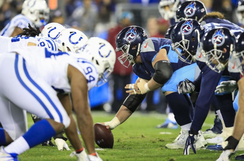 NASHVILLE, TN - DECEMBER 30: The Tennessee Titans offensive line faces the Indianapolis Colts defensive line during the second quarter at Nissan Stadium on December 30, 2018 in Nashville, Tennessee. (Photo by Andy Lyons/Getty Images)