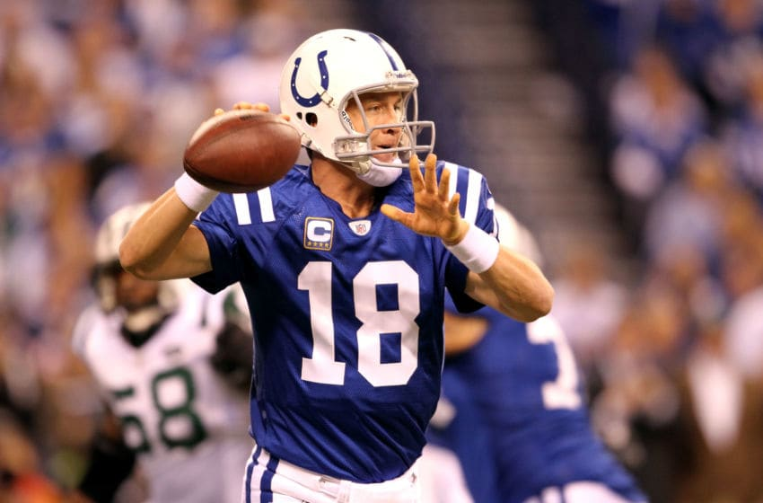 INDIANAPOLIS, IN - JANUARY 08: Quarterback Peyton Manning #18 of the Indianapolis Colts passes the ball in the first quarter against the New York Jets during their 2011 AFC wild card playoff game at Lucas Oil Stadium on January 8, 2011 in Indianapolis, Indiana. (Photo by Andy Lyons/Getty Images)