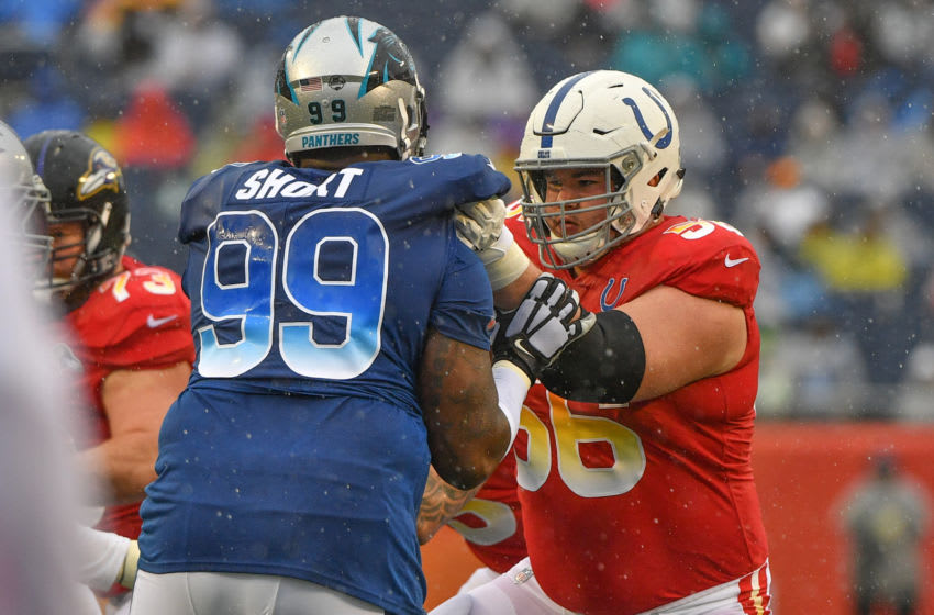 ORLANDO, FL - JANUARY 27: Quenton Nelson #56 of the Indianapolis Colts blocks Kawann Short #99 of the Carolina Panthers in the second quarter during the 2019 NFL Pro Bowl at Camping World Stadium on January 27, 2019 in Orlando, Florida. (Photo by Mark Brown/Getty Images)