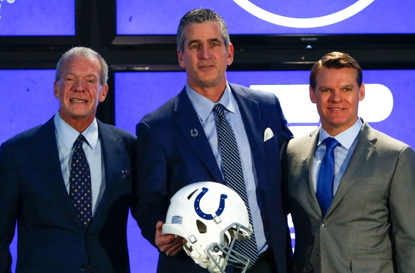 Owner Jim Irsay, head coach Frank Reich and general manager Chris Ballard of the Indianapolis Colts pose for a photo during the press conference introducing head coach Frank Reich at Lucas Oil Stadium on February 13, 2018 in Indianapolis, Indiana. (Photo by Michael Reaves/Getty Images)