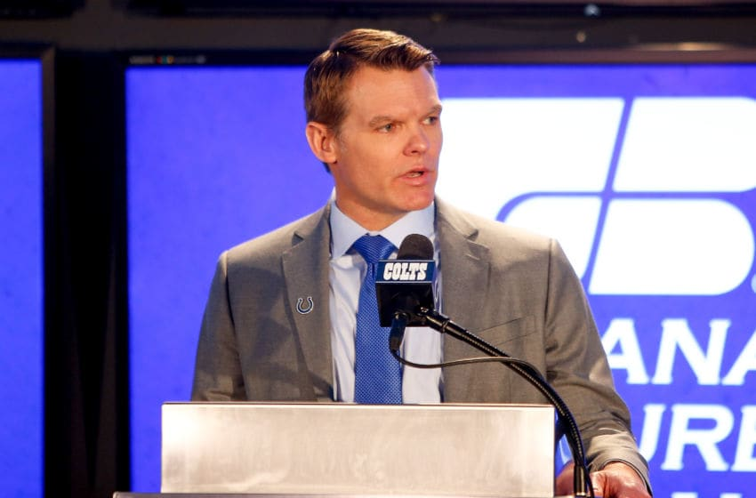 INDIANAPOLIS, IN - FEBRUARY 13: General manager Chris Ballard addresses the media during the press conference introducing head coach Frank Reich at Lucas Oil Stadium on February 13, 2018 in Indianapolis, Indiana. (Photo by Michael Reaves/Getty Images)