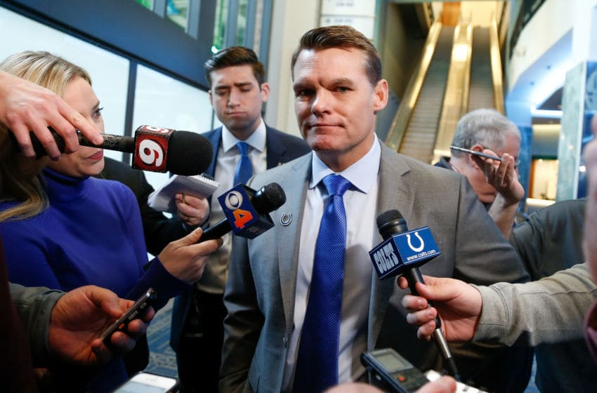 INDIANAPOLIS, IN - FEBRUARY 13: General manager Chris Ballard of the Indianapolis Colts addresses the media following a press conference introducing head coach Frank Reich at Lucas Oil Stadium on February 13, 2018 in Indianapolis, Indiana. (Photo by Michael Reaves/Getty Images)