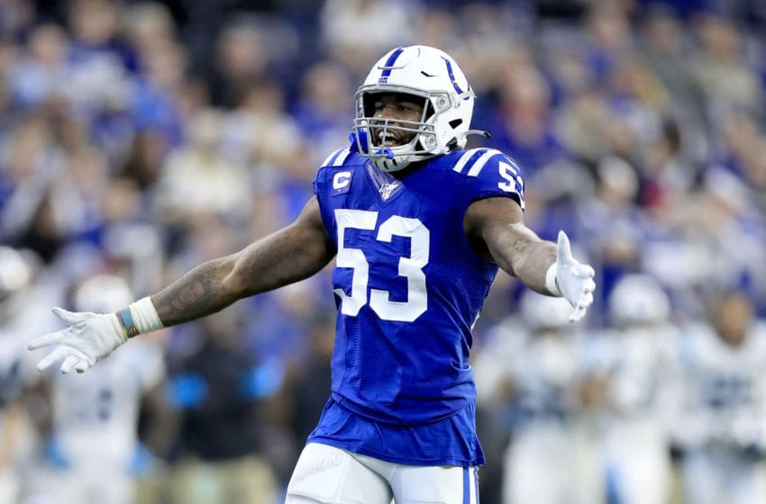 INDIANAPOLIS, INDIANA - DECEMBER 22: Darius Leonard #53 of the Indianapolis Colts celebrates after the Colts stopped the Carolina Panthers on fourth down at Lucas Oil Stadium on December 22, 2019 in Indianapolis, Indiana. (Photo by Andy Lyons/Getty Images)