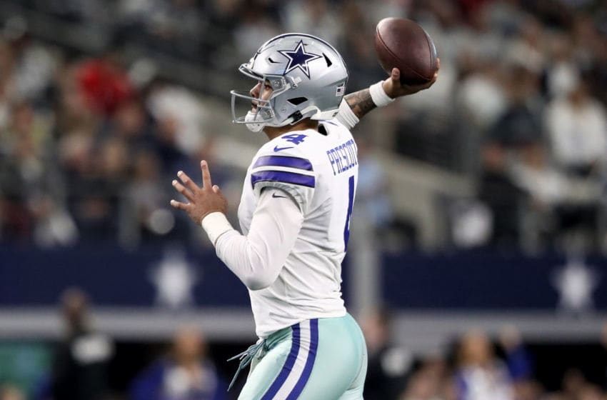 ARLINGTON, TEXAS - DECEMBER 29: Dak Prescott #4 of the Dallas Cowboys throws a pass in the first quarter against the Washington Redskins in the game at AT&T Stadium on December 29, 2019 in Arlington, Texas. (Photo by Ronald Martinez/Getty Images)