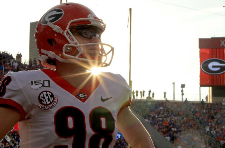Rodrigo Blankenship #98 of the Georgia Bulldogs looks on during a game against the Florida Gators on November 02, 2019 in Jacksonville, Florida. (Photo by Mike Ehrmann/Getty Images)