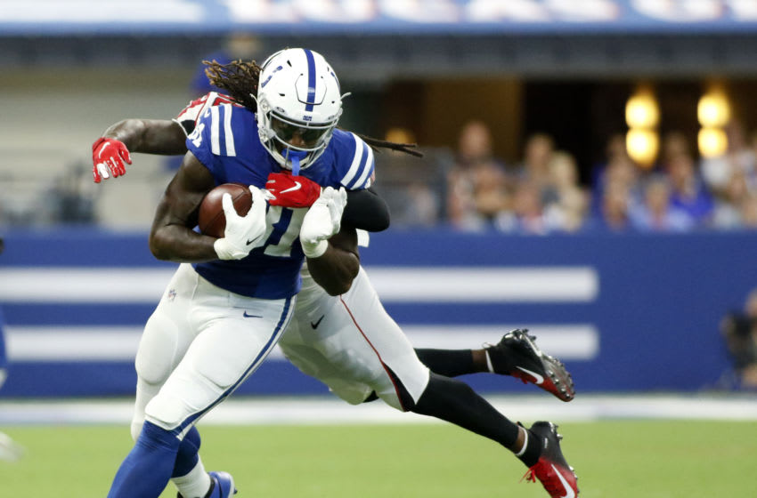 INDIANAPOLIS, INDIANA - SEPTEMBER 22: Mo Alie-Cox #81 of the Indianapolis Colts runs the ball after a catch during game against the Atlanta Falcons at Lucas Oil Stadium on September 22, 2019 in Indianapolis, Indiana. (Photo by Justin Casterline/Getty Images)