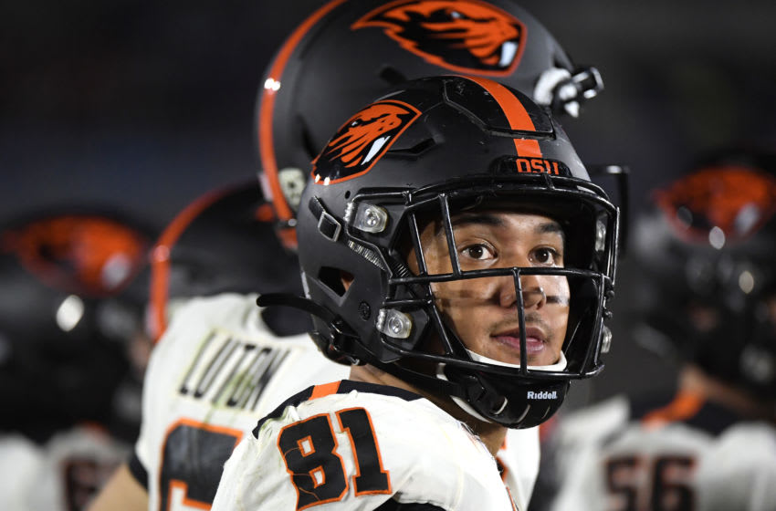 Noah Togiai #81 of the Oregon State Beavers looks on from the sidelines during the third quarter against the UCLA Bruins at the Rose Bowl on October 05, 2019 in Pasadena, California. (Photo by Harry How/Getty Images)
