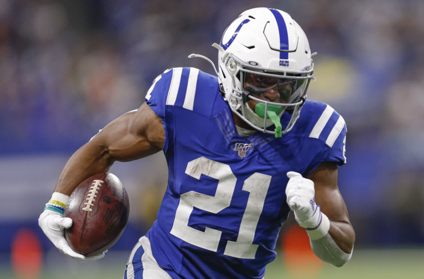 INDIANAPOLIS, IN - NOVEMBER 10: Nyheim Hines #21 of the Indianapolis Colts runs the ball during the game against the Miami Dolphins at Lucas Oil Stadium on November 10, 2019 in Indianapolis, Indiana. (Photo by Michael Hickey/Getty Images)