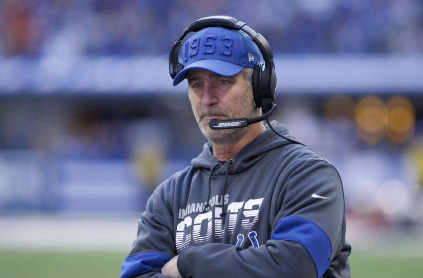 INDIANAPOLIS, INDIANA - OCTOBER 27: Head coach Frank Reich of the Indianapolis Colts on the sidelines in the game against the Denver Broncos at Lucas Oil Stadium on October 27, 2019 in Indianapolis, Indiana. (Photo by Justin Casterline/Getty Images)