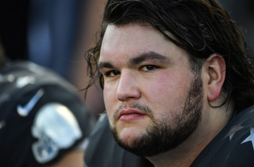 ORLANDO, FLORIDA - JANUARY 26: Quenton Nelson #56 of the Indianapolis Colts looks on during the 2020 NFL Pro Bowl at Camping World Stadium on January 26, 2020 in Orlando, Florida. (Photo by Mark Brown/Getty Images)