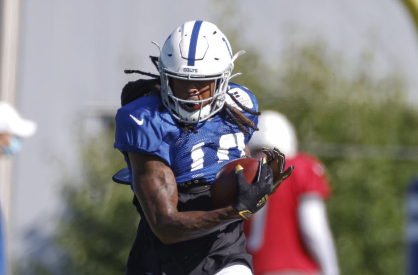 INDIANAPOLIS, IN - AUGUST 22: Daurice Fountain #10 of the Indianapolis Colts attends training camp at Indiana Farm Bureau Football Center on August 22, 2020 in Indianapolis, Indiana. (Photo by Michael Hickey/Getty Images)