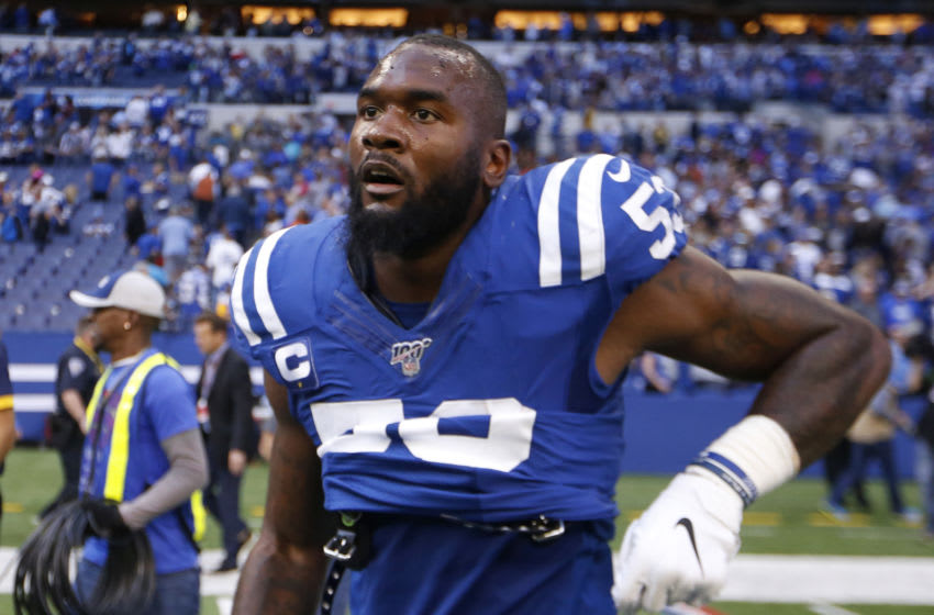 INDIANAPOLIS, INDIANA - OCTOBER 20: Darius Leonard #53 of the Indianapolis Colts on the field after the game against the Houston Texans at Lucas Oil Stadium on October 20, 2019 in Indianapolis, Indiana. (Photo by Justin Casterline/Getty Images)