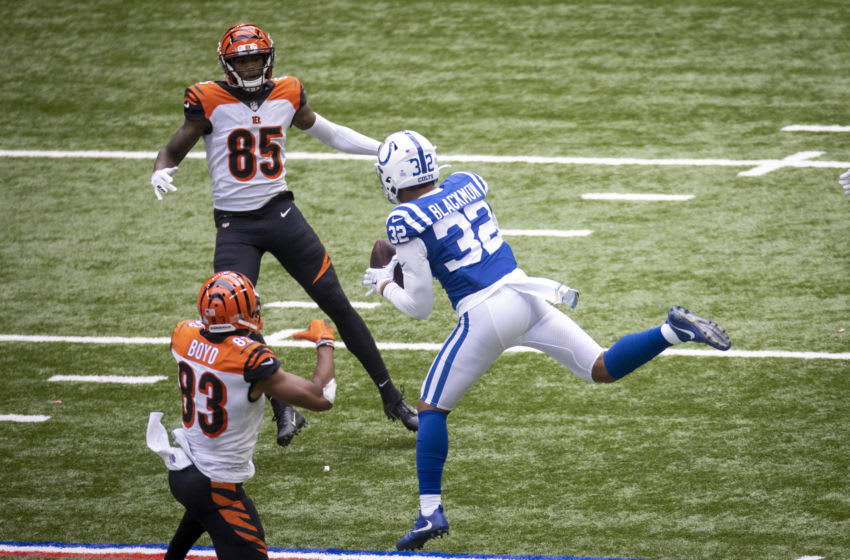 INDIANAPOLIS, IN - OCTOBER 18: Julian Blackmon #32 of the Indianapolis Colts intercepts a pass in the fourth quarter of the game against the Cincinnati Bengals at Lucas Oil Stadium on October 18, 2020 in Indianapolis, Indiana. (Photo by Bobby Ellis/Getty Images)