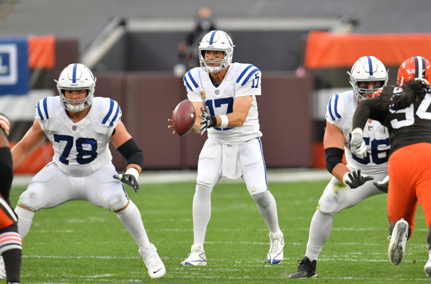 CLEVELAND, OHIO - OCTOBER 11: Quarterback Philip Rivers #17 of the Indianapolis Colts takes the snap during the second half against the Cleveland Browns at FirstEnergy Stadium on October 11, 2020 in Cleveland, Ohio. The Browns defeated the Colts 32-23. (Photo by Jason Miller/Getty Images)