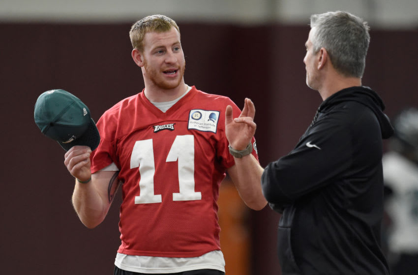 MINNEAPOLIS, MN - FEBRUARY 01: Carson Wentz #11 of the Philadelphia Eagles speaks with offensive coordinator Frank Reich (Photo by Hannah Foslien/Getty Images)