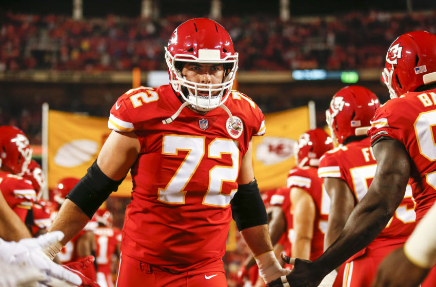 KANSAS CITY, MO - OCTOBER 21: Eric Fisher #72, left tackle with the Kansas City Chiefs, ran through a line of his teammates during player introductions in the game against the Cincinnati Bengals at Arrowhead Stadium on October 21, 2018 in Kansas City, Missouri. (Photo by David Eulitt/Getty Images)