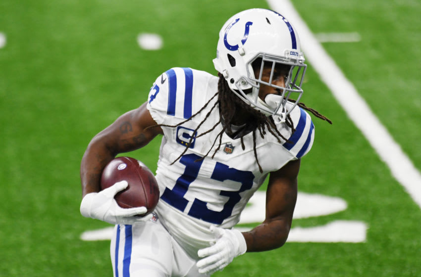 DETROIT, MICHIGAN - NOVEMBER 01: T.Y. Hilton #13 of the Indianapolis Colts warms up prior to the game against the Detroit Lions at Ford Field on November 01, 2020 in Detroit, Michigan. (Photo by Nic Antaya/Getty Images)