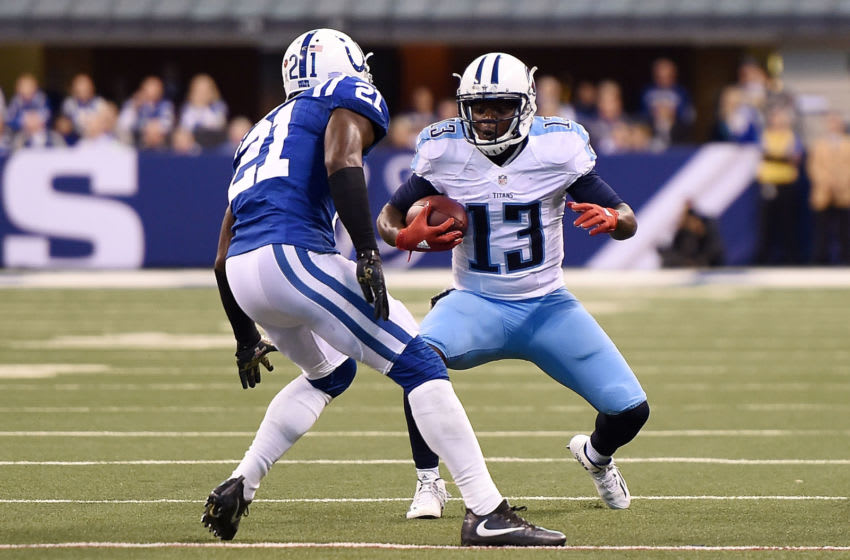 INDIANAPOLIS, IN - NOVEMBER 20: Kendall Wright #13 of the Tennessee Titans is brought down by Vontae Davis #21 of the Indianapolis Colts during a game at Lucas Oil Stadium on November 20, 2016 in Indianapolis, Indiana. The Colts defeated the Titans 24-17. (Photo by Stacy Revere/Getty Images)