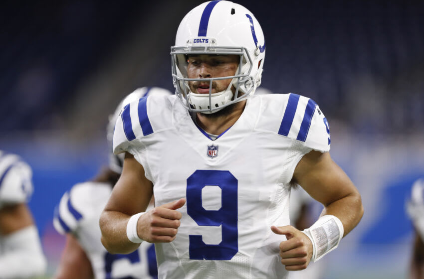 Aug 27, 2021; Detroit, Michigan, USA; Indianapolis Colts quarterback Jacob Eason (9) warms up before the game against the Detroit Lions at Ford Field. Mandatory Credit: Raj Mehta-USA TODAY Sports