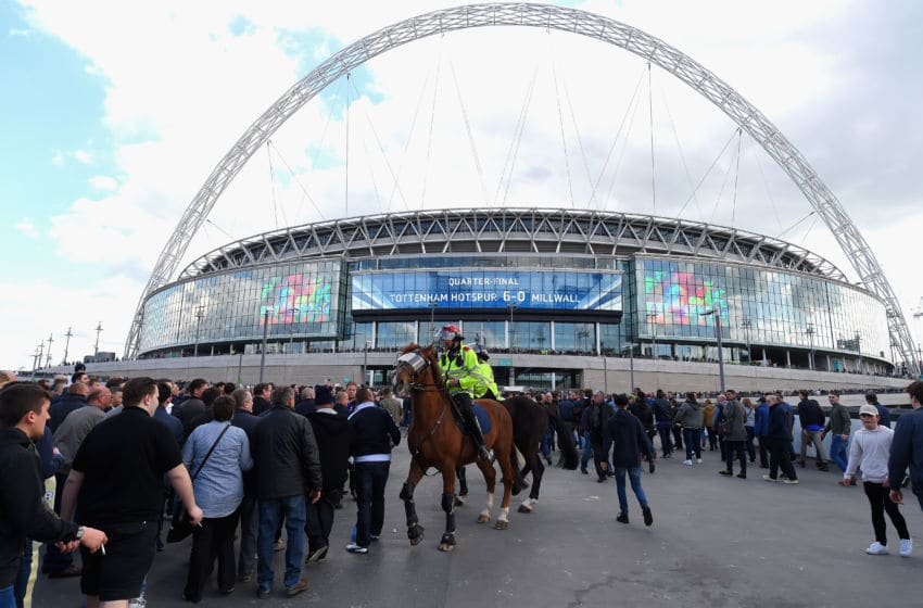 LONDON, ENGLAND - APRIL 22: Police patrol the stadium prior to The Emirates FA Cup Semi-Final between Chelsea and Tottenham Hotspur at Wembley Stadium on April 22, 2017 in London, England. (Photo by Mike Hewitt/Getty Images,)
