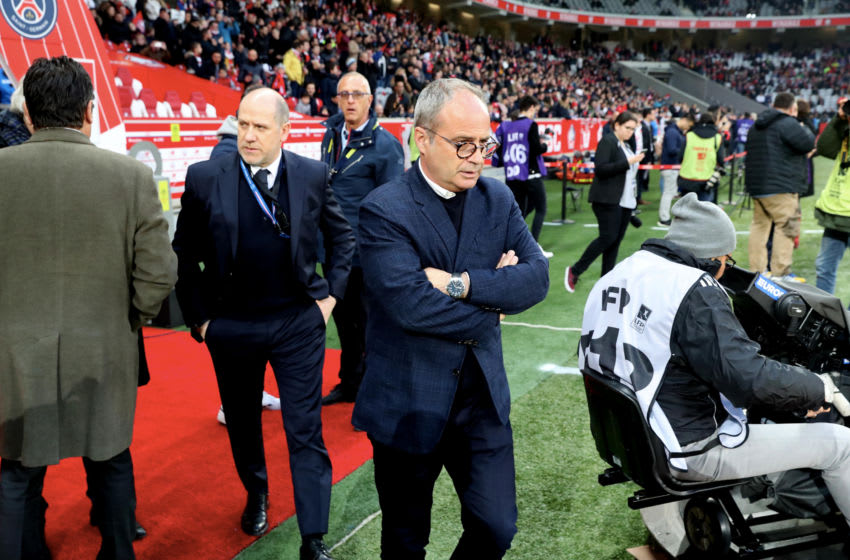 LILLE, FRANCE - APRIL 14: Antero Henrique of Paris Saint-Germain react with Luis Campos of Lille LOSC before the Ligue 1 match between Lille OSC and Paris Saint-Germain (PSG) at Stade Pierre Mauroy on April 14, 2019 in Lille, France. (Photo by Xavier Laine/Getty Images)