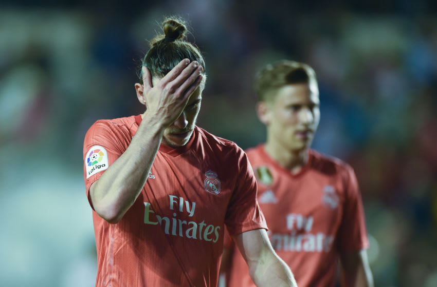 MADRID, SPAIN - APRIL 28: Gareth Bale of Real Madrid looks dejected during the La Liga match between Rayo Vallecano de Madrid and Real Madrid CF at Campo de Futbol de Vallecas on April 28, 2019 in Madrid, Spain. (Photo by Denis Doyle/Getty Images)