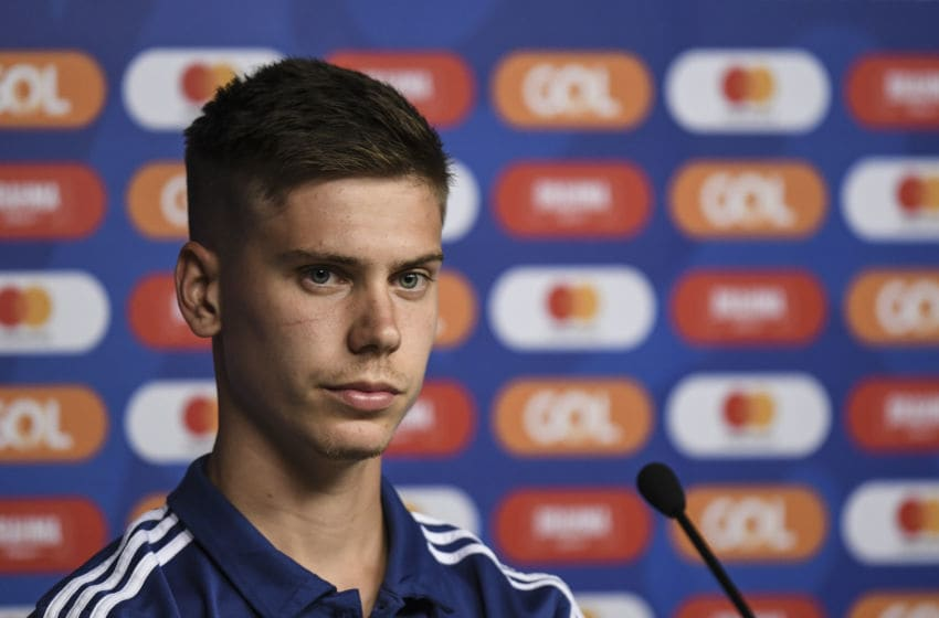 BELO HORIZONTE, BRAZIL - JUNE 18: Juan Foyth of Argentina looks on during a press conference at Mineirao Stadium on June 18, 2019 in Belo Horizonte, Brazil. (Photo by Pedro Vilela/Getty Images)