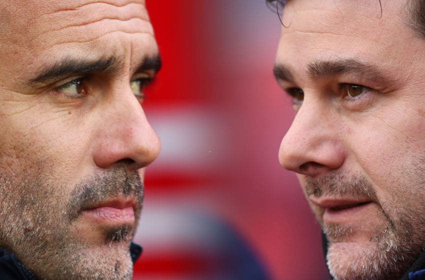 FILE PHOTO (EDITORS NOTE: COMPOSITE OF IMAGES - Image numbers 1089388290,942986596 - GRADIENT ADDED) In this composite image a comparison has been made between Pep Guardiola, (L) manager of Manchester City and Mauricio Pochettino, Manager of Tottenham Hotspur . Manchester City and Tottenham Hotspur meet in a Premier League fixture on August 17, 2019 at the Etihad Stadium in Manchester. ***LEFT IMAGE*** SOUTHAMPTON, ENGLAND - DECEMBER 30: Pep Guardiola, manager of Manchester City looks on before the Premier League match between Southampton FC and Manchester City at St Mary's Stadium on December 30, 2018 in Southampton, United Kingdom. (Photo by Dan Istitene/Getty Images) ***RIGHT IMAGE*** STOKE ON TRENT, ENGLAND - APRIL 07: Mauricio Pochettino, Manager of Tottenham Hotspur looks on prior to the Premier League match between Stoke City and Tottenham Hotspur at Bet365 Stadium on April 7, 2018 in Stoke on Trent, England. (Photo by Gareth Copley/Getty Images)