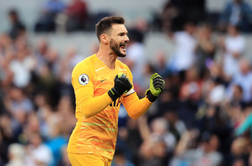 LONDON, ENGLAND - AUGUST 10: Hugo Lloris of Tottenham Hotspur celebrates after his team's second goal during the Premier League match between Tottenham Hotspur and Aston Villa at Tottenham Hotspur Stadium on August 10, 2019 in London, United Kingdom. (Photo by Marc Atkins/Getty Images)