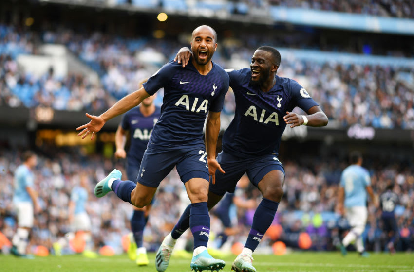 MANCHESTER, ENGLAND - AUGUST 17: Lucas Moura of Tottenham Hotspur celebrates after he scores his sides second goal during the Premier League match between Manchester City and Tottenham Hotspur at Etihad Stadium on August 17, 2019 in Manchester, United Kingdom. (Photo by Shaun Botterill/Getty Images)