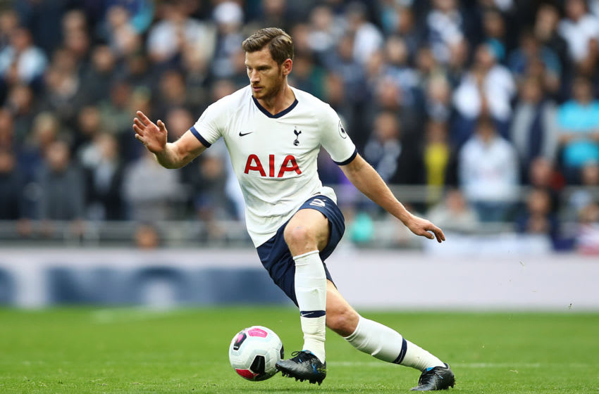 LONDON, ENGLAND - OCTOBER 19: Jan Vertonghen of Spurs in action during the Premier League match between Tottenham Hotspur and Watford FC at Tottenham Hotspur Stadium on October 19, 2019 in London, United Kingdom. (Photo by Julian Finney/Getty Images)