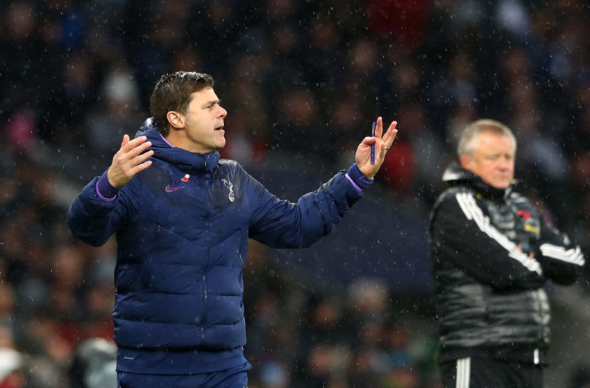 LONDON, ENGLAND - NOVEMBER 09: Mauricio Pochettino, Manager of Tottenham Hotspur reacts during the Premier League match between Tottenham Hotspur and Sheffield United at Tottenham Hotspur Stadium on November 09, 2019 in London, United Kingdom. (Photo by Matthew Lewis/Getty Images)