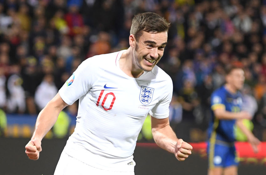 PRISTINA, KOSOVO - NOVEMBER 17: Harry Winks of England celebrates after scoring his team's first goal during the UEFA Euro 2020 Qualifier between Kosovo and England at the Pristina City Stadium on November 17, 2019 in Pristina, Kosovo. (Photo by Michael Regan/Getty Images)